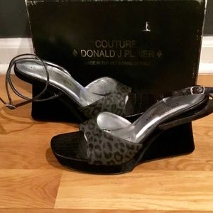 Donald Pliner Couture Calf Hair Charcoal Sandals